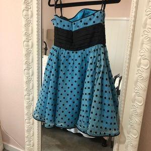 Vintage Betsey Johnson turquoise polka dot dress